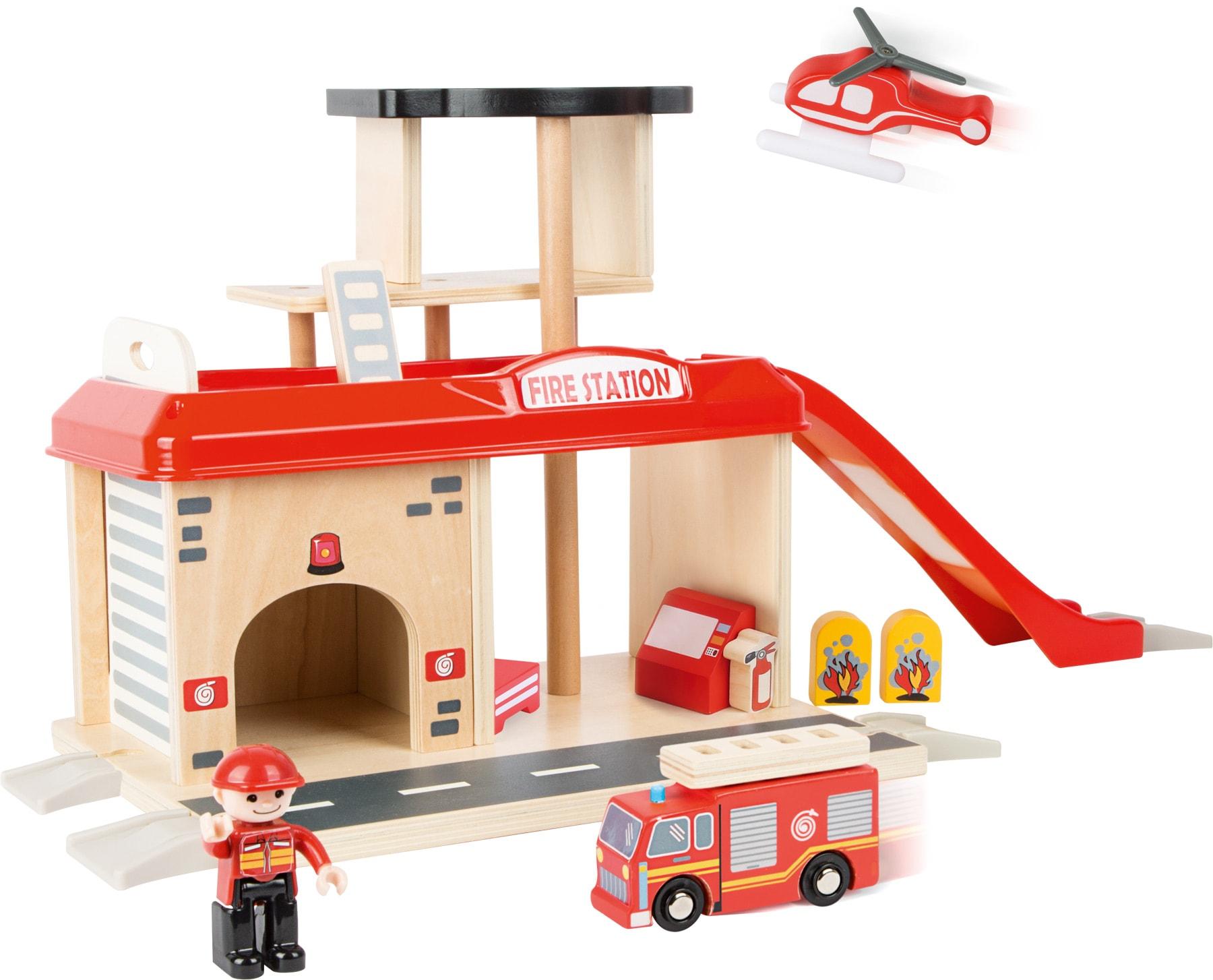 Houten speelgoed brandweerstation