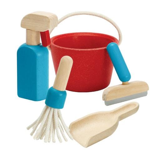houten schoonmaakset speelgoed poetsen